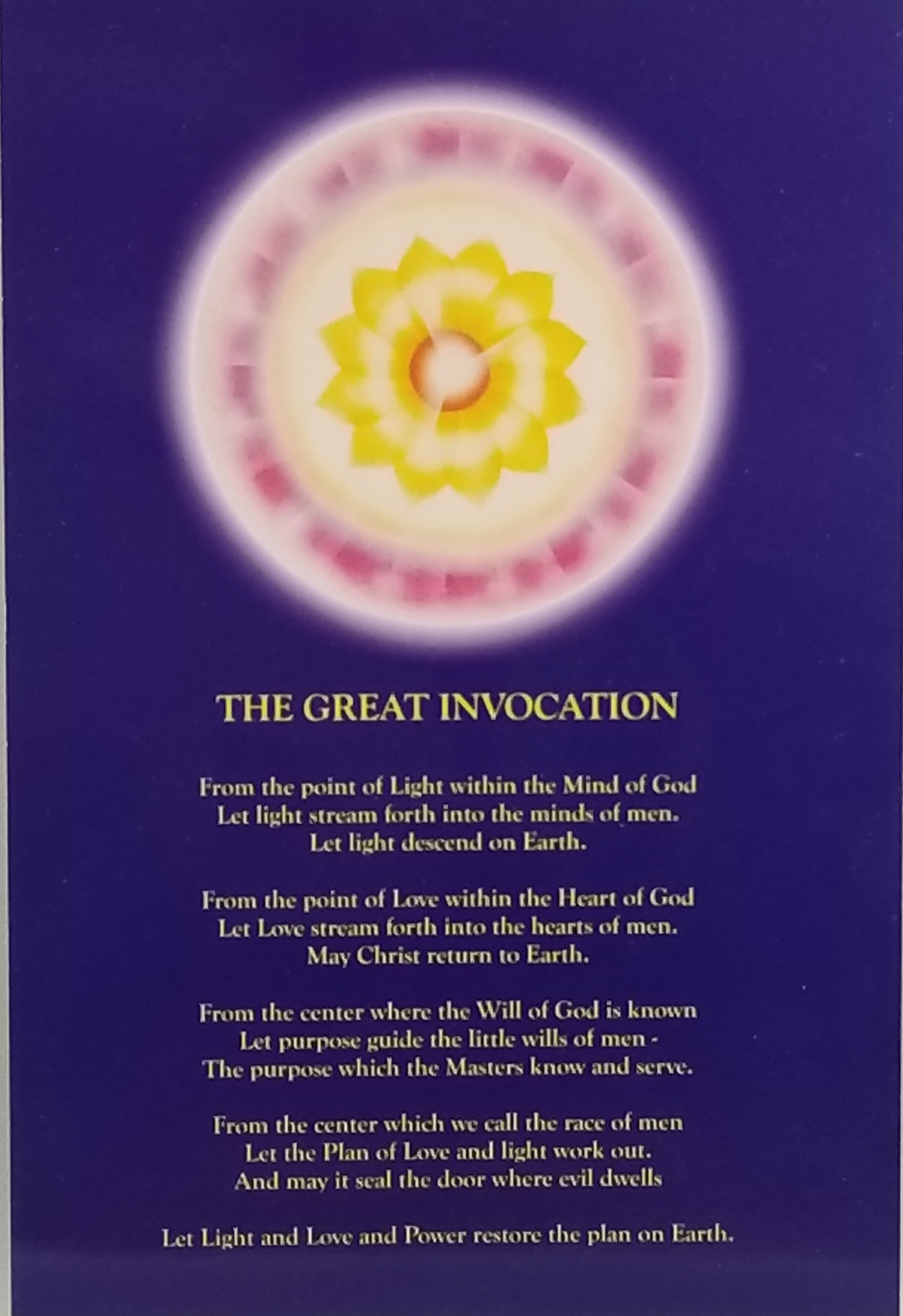 The Great Invocation Card (4″x 6″)
