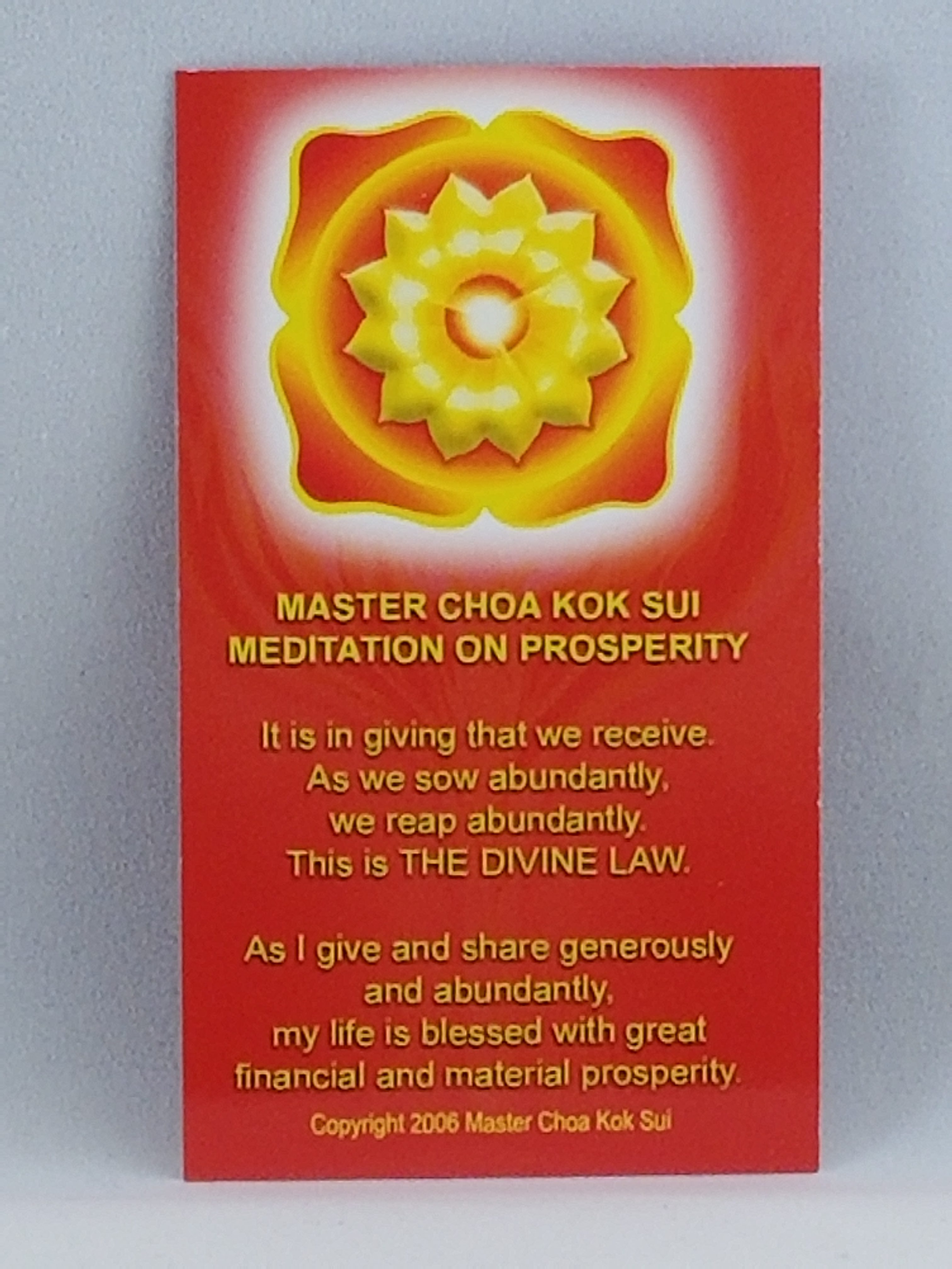 Meditation on Prosperity wallet size