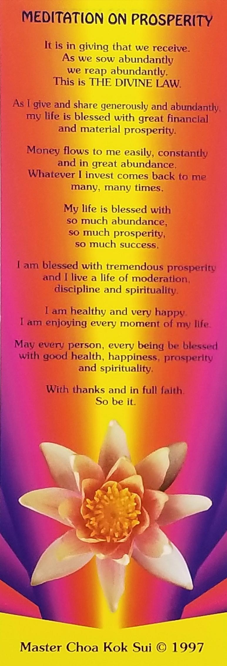 Meditation on Prosperity bookmark